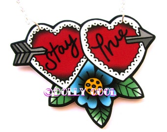 Stay True Sweetheart Necklace by Dolly Cool 40s 50s Reproduction Vintage Style Novelty  WW2