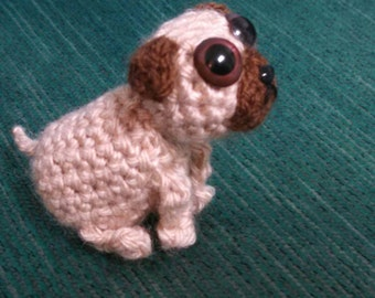 Bitty Pug - miniature pug mini crochet dogs amigurumi pug crochet pug toy small pug mini pug stuffed dog