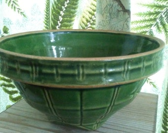 Antique MC Coy Yellow Ware Window Pane Green Glazed Mixing Bowl