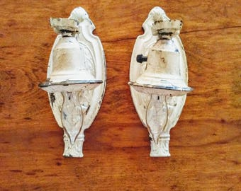 Pair of Antique Painted Brass Single Light Wall Sconces