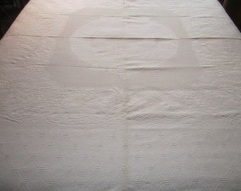 Antique Authentic Cotton Off White Matelasse 74x78 Sturdy Bed Cover No.4