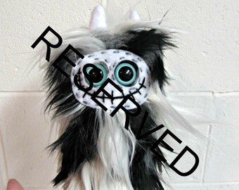 RESERVED for April Monster Plush - Skeleton Plush - Handmade Skelly Plush - Black White Monochrome Faux Fur - Plush Skeleton Toy - Weird Toy