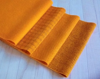 "Hand Dyed Wool Felt, GOLDFISH, Four 6.5"" x 16"" pieces in Bright Yellow-Orange, Perfect for Rug Hooking, Applique', and Crafts"