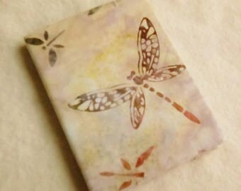 Batik Covered Pocket Memo Book, DRAGONFLY, Refillable Mini Composition Notebook Cover in Ivory and Brown