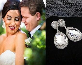 Dramatic bridal earrings, Wedding earrings, Wedding jewelry, Swarovski crystal earrings, Statement earrings, Wedding jewelry, Bridesmaid