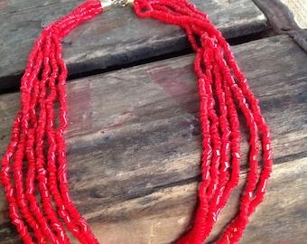 VINTAGE multi strand BEAD NECKLACE - vintage necklace- vintage beads- cool old piece
