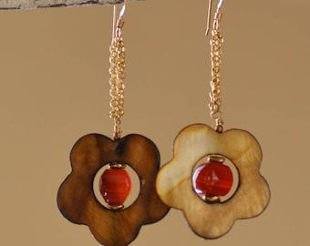 Mother of Pearl  Earrings. SALE. Flower Earrings. Orange Carnelian - Golden Hand Carved MOP. 14K Gold Filled Earrings. Dangle Earrings.
