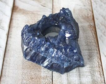Blue Amethyst Crystal Candle Holder