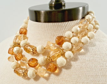 Vintage Bead Necklace, Chunky Multi Strand W Germany Necklace, Amber Peach and Cream Triple Strand Plastic Bead Necklace