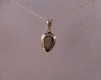Cabochon Moldavite sterling silver pendant / necklace