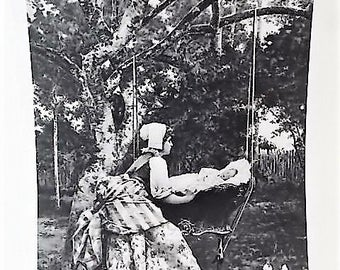1893 World Columbian Exposition Barrie Toudouze Print Mother Baby Cradle in Tree