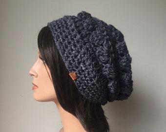 Hemp Wool Hat handmade Slouchy Hat in  winter fashion Navy Blue Ready to Ship