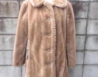 Faux Mink Fur Vintage 1970s Jacket Coat Margot Tenenbaum
