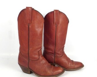 Frye Cowboy Boots Vintage 1980s Rich Carmel Whiskey Brown Men's size 8 1/2