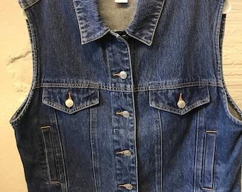 Jean Denim vest Vintage 1990s Cotton Blue Pendleton Women's Petite L