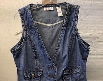 Jean Denim vest Vintage 1990s Cotton Blue Bill Blass Women's size L