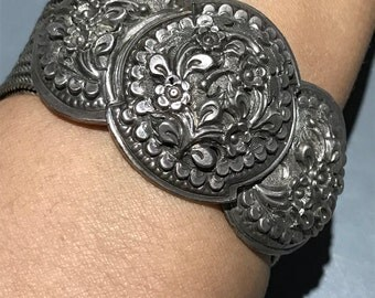 WIDE Tribal silver bracelet . Embossed Floral Design . Ethnic Silver Jewelry