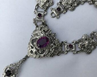 Vintage Victorian Revival Necklace . Renaissance revival necklace . Cherub . Dragon . Griffins