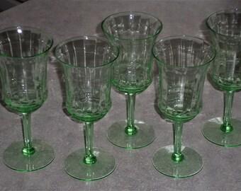 5 green uranium Depression Glass wine water stemware glasses optic ribbon