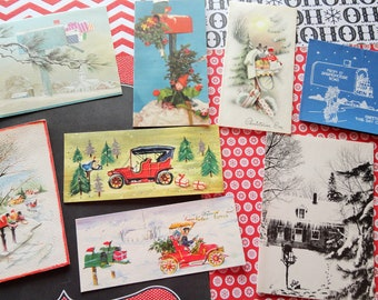 Christmas Cards in the Mailbox and Rural Route Deliveries in Vintage Christmas Card Lot No 1019 Lot of 7