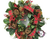RESERVED-Magnolia Leaf Winter Wreath - Custom Order