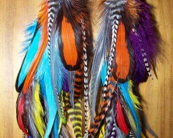 Colorful Feather Earrings, Real Feathers, Natural Feathers, Native American, Tribal, Festival, Fluffy, Full, Big, Earrings, Large, Dancer