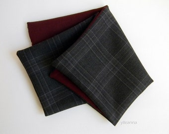 Pocket square - Double sided pocket square - Reversible Handkerchief -  Made in Italy -  Plum, charcoal grey. Plaid.