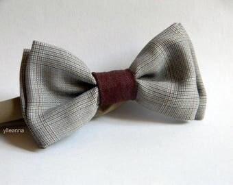 Men bow tie - Handmande bowtie - Wool bow tie - Pre tied bow tie - Made in Italy - Sand beige, brown.