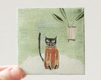 cat sweater in rust / cat art, original small painting