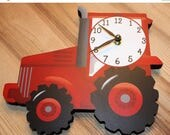 Spring SALE Red Tractor Wooden WALL CLOCK for Boys Bedroom Baby Nursery Wc0041