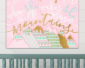 Personalized She will Move Mountains Pink Aqua Gold Stretched Canvas Children's Bedroom Wall Art CS0078