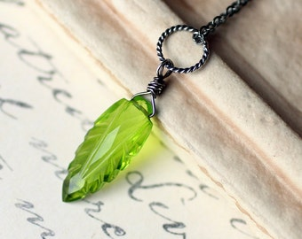 "Peridot Quartz Necklace, Leaf Necklace on Oxidized Sterling Silver - ""Green Leaf"" by CircesHouse on Etsy"