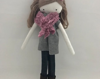 Handmade rag doll , May - ooak cloth art rag doll blouse,jeans and boots toy for girls