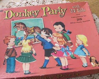 Charming Complete Vintage Pin the Tail on the Donkey Party Boxed Game from Whitman