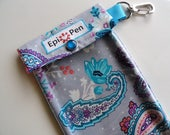 Clearance Sale Epi Pen Pouch w/ Clear Front Pocket Swivel Clip Holds 2 Allergy Auto Injector Pens Includes Medical Card Gray & Aqua Paisley
