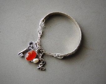 Sterling Silver Bangle Bracelet, Silver Charm Bracelet, Artisan Jewelry, Rustic Handcrafted, Urban Chic Jewelry, Silver Cuff Bracelet
