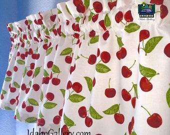 Retro Cherry Decor Kitsch Cherries Kitchen WindowValance Curtain