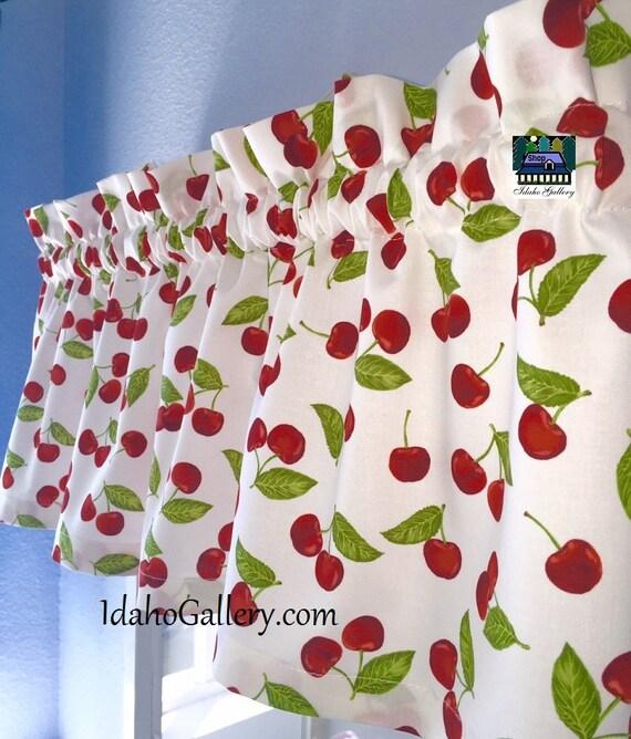 Retro Cherry Decor Kitsch Cherries Kitchen Windowvalance