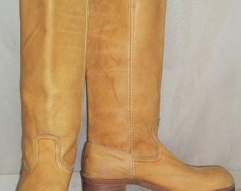 ON SALE Vintage BOHO Campus Leather Boots Womens 8 1/2M Tall