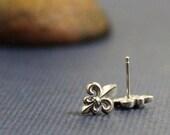 ON SALE Fleur de lis Sterling Post Earrings- Free Shipping