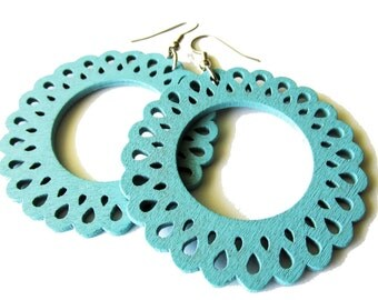 Aqua Blue Lace Edged Hoop Earrings