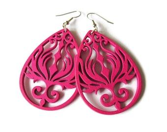 Large Fuchsia Pink Wooden Phoenix Earrings