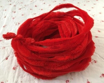 Vintage RED Bump Chenille Fuzzy Wire Stems - By The Yard - Pipe Cleaner - Hard to Find - Excellent Condition