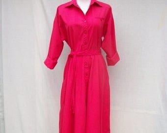 ON SALE 80s Hot Pink Shirtwaist Dress size Medium Large Full Skirt 50s Style