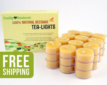 36 Beeswax Tea Light Candles in Natural - Metal or Plastic Cups - Free Shipping