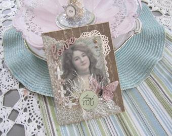 Handmade Thank You Card - Victorian Thank You Card - Gratitude Card