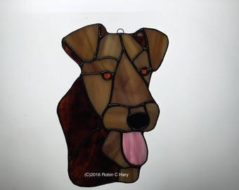 Airedale Terrier Suncatcher in Stained Glass