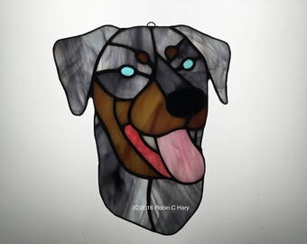 Catahoula Leopard Dog Suncatcher in Stained Glass