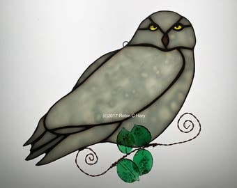 Snowy Owl Suncatcher in Stained Glass