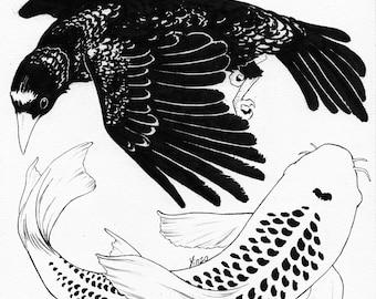 A Bird May Love a Fish - Original Ink Drawing
